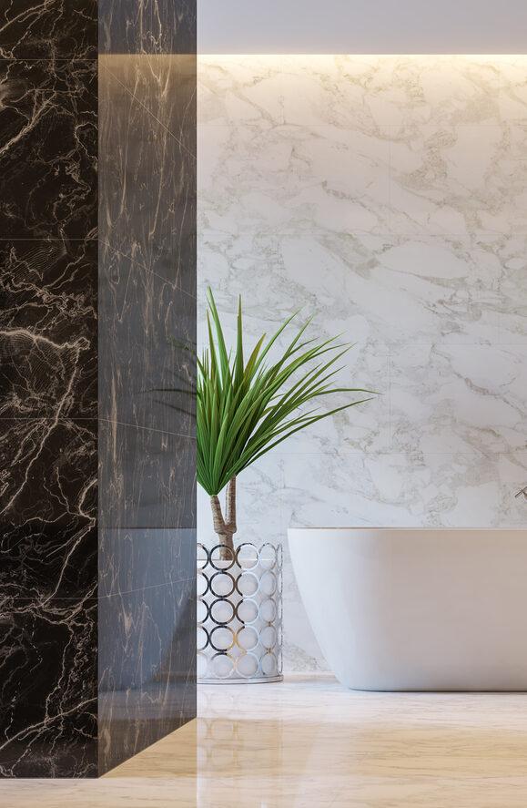 luxueuze badkamer met natuursteen